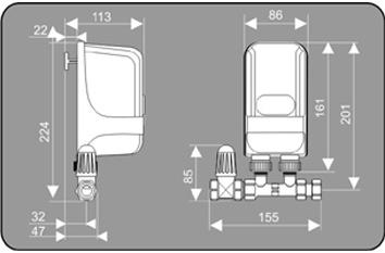 Przepływowy ogrzewacz wody Dafi wersja z przyłączem i zaworem odcinającym