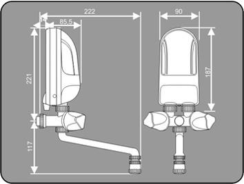 Przepływowy ogrzewacz wody Dafi wersja z baterią i wylewką